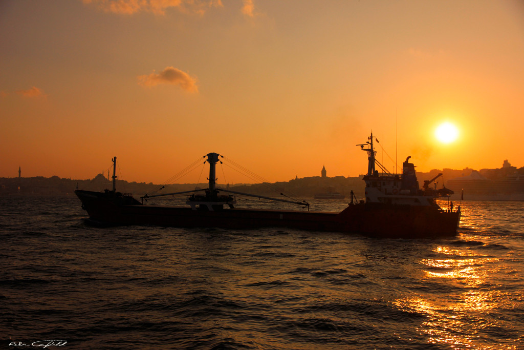 Crossing the Bosphorus at Sunset. Istanbul, Turkey