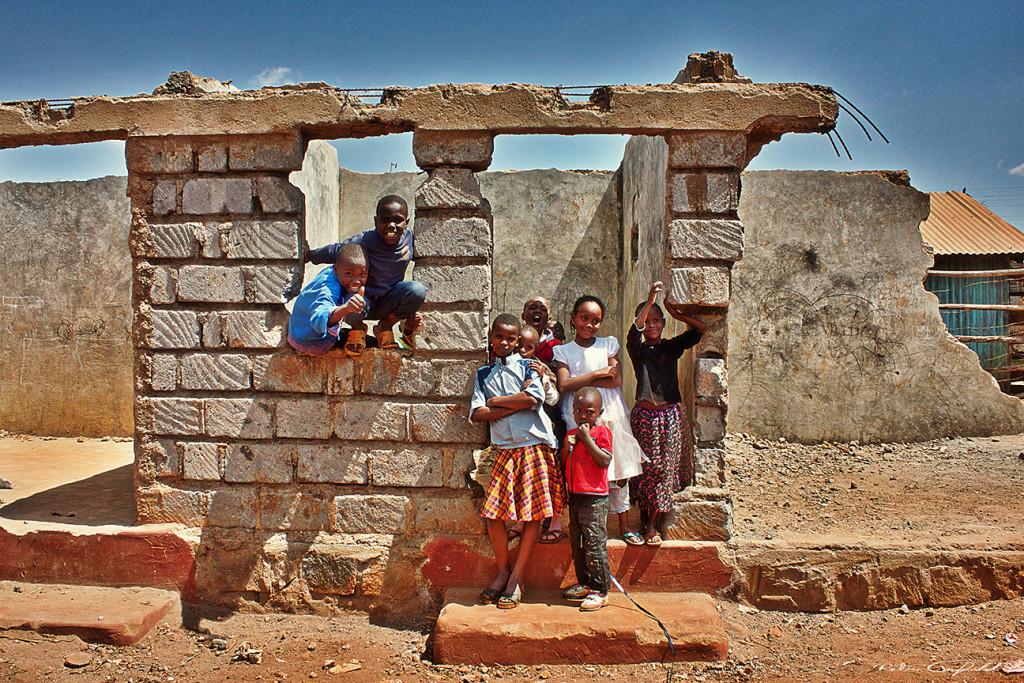 Kids playing in the Kawangware slum. Nairobi, Kenya.