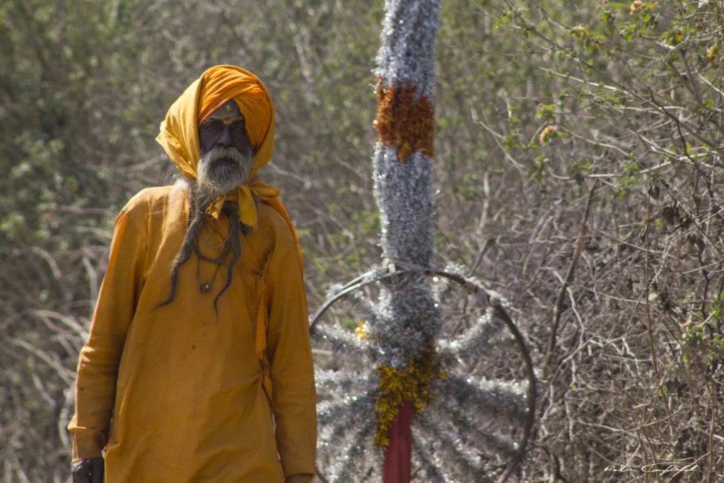 A Festival-goer on the road to the Shiva Festival. Outside of Orchha, India