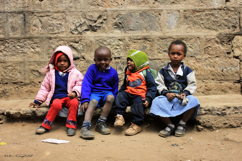 Kids at school in the Haruma slum. Nairobi, Kenya