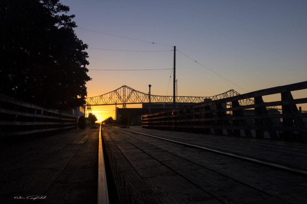Sunset along the piers in Astoria, Oregon - September, 2015
